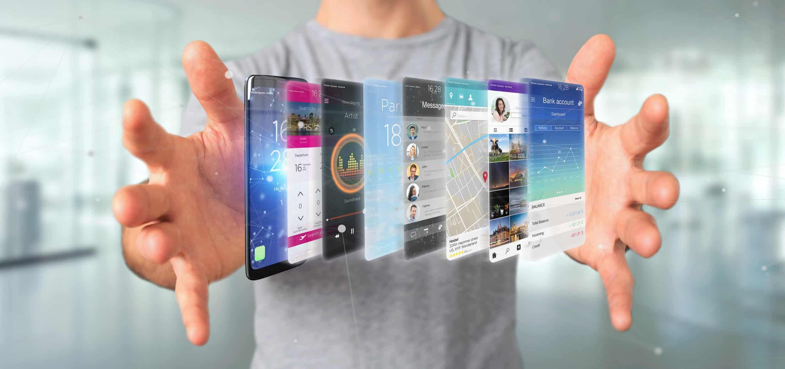 View of a Businessman holding 3d rendering app template on a smartphone